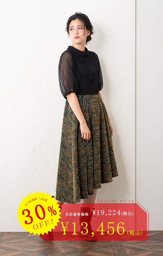 【30%OFF!!】【Fi/Fille invincible】ロールネックフロッキー加工ワンピース M〜L【48-713004】